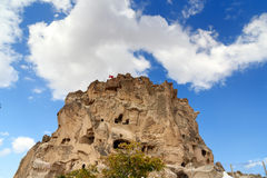 View of Uchisar castle. Cappadocia. Turkey Royalty Free Stock Images