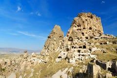 View of Uchisar castle. Cappadocia. Turkey Stock Images