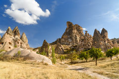 View of Uchisar castle from Pigeon valley. Cappadocia. Turkey