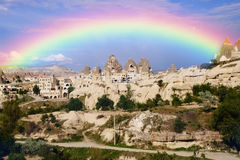 View of the Uchisar valley and the city of Goreme Royalty Free Stock Photo