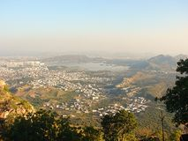 View of Udaipur City from Saajngarh Fort, Rajasthan Stock Photography