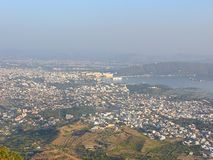 View of Udaipur City from Saajngarh Fort, Rajasthan Stock Photos