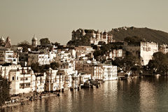 View on Udaipur from the lake Pichola. Sepia stock photos