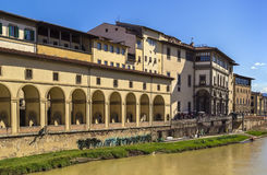 View of Uffizi Gallery, Florence. View of Uffizi Gallery from Arno river in Florence, Italy Royalty Free Stock Photos