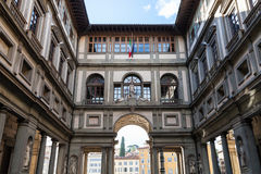 View of Uffizi Gallery in Florence city. Travel to Italy - view of Uffizi Gallery from Piazza della Signoria in Florence city Royalty Free Stock Photo