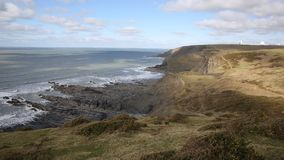 View of the UK atlantic coast north of Sandymouth beach North Cornwall England UK on the south west coast path stock footage