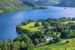 View of Ullswater Lake, Lake District, UK. Panorama view of Ullswater Lake, Lake District, UK Stock Photo