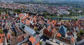 View on Ulm from the tower of Ulm Minster, Germany Stock Image