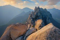 View from Ulsanbawi rock peak on sunset. Seoraksan National Park, South Corea royalty free stock photo