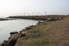 View of Umgeni River Mouth with Rocky Pier on Right Stock Images