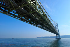View under the Akashi Kaikyo bridge Royalty Free Stock Images