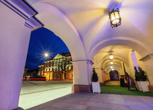 View from under the arches on market sqare in Kielce. View from under the arches on market sqare Rynek and City Hall in Kielce Royalty Free Stock Photos