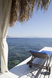 View from under a bamboo bungalow on a beautiful yacht Stock Photography