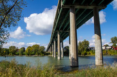 View under bridge. At Sorel-Tracy, Qc stock photo