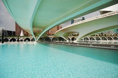 View from under the bridges. VALENCIA, SPAIN - JULY 14: Detail of the City of Arts and Sciences (one of the most outstanding examples of modern archtecture built royalty free stock photography