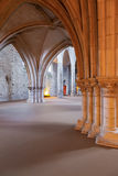View under the High-Choir porch in the Church of the Sao Francisco Convent. Stock Photos