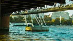 View from under the Hungerford Bridge. London stock video footage