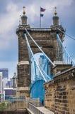 View under John A. Roebling Suspension Bridge. John A. Roebling  Bridge from Covington Kentucky Stock Image