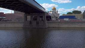 View from under Patriarshy Bridge. Cathedral of Christ the Saviour. View from under Patriarshy Bridge,Cathedral of Christ the Saviour . Moscow Russia stock footage