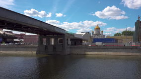 View from under Patriarshy Bridge. Cathedral of Christ the Saviour. View from under Patriarshy Bridge,Cathedral of Christ the Saviour . Moscow Russia stock video footage