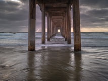 Scripps Pier during sunset view from under the Pier at La Jolla, San Diego, California stock photos