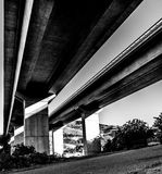 View from underneath autoroute. Spanish motorway bridge from low angle royalty free stock photography
