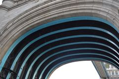 View of Underneath of a Bridge. Tower Bridge detail of interior Tunnel stock photo
