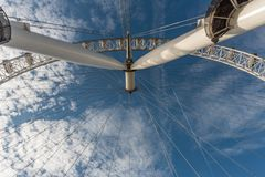 A view from underneath the London Eye in late October. London, England royalty free stock images