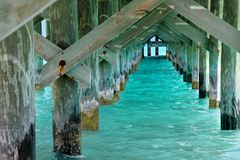 View underneath ocean pier in Nassau. Underside view of pier in Nassau Bahamas with turquoise ocean water royalty free stock photo