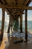 View from underneath a wooden pier. Royalty Free Stock Image