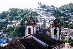 View of the unesco world heritage city of Ouro Preto in Minas Gerais Brazil Royalty Free Stock Images
