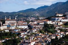 View of the unesco world heritage city of Ouro Preto in Minas Gerais Brazil royalty free stock photos