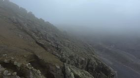 View of the uneven stone slope of the cliff. Andreev. stock video footage