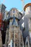 View of the unfinished construction of the Cathedral of La Sagrada Familia in Barcelona, Spain. stock image