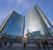 View of the Unicredit Tower in Gae Aulentis Square, the buisness area near Garibaldi train Station, Milan, Italy royalty free stock photography