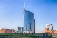 View of the Unicredit Tower and  the Unicredit Pavillion in Gae Aulentis Square, the buisness area near Garibaldi train Station, M. Ilan, Italy, Asia Stock Photo
