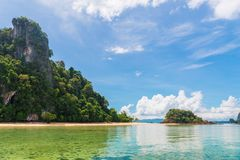 View of an uninhabited island with a sandy beach. At Thailand resort Royalty Free Stock Photos