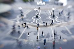 View of Union Square, New York. With pedestrians after the rain, taken with lensbaby Royalty Free Stock Images