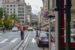 Union Square on Powell Street from Cable Car in San Francisco, CA royalty free stock images
