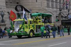 St. Patrick`s Day Parade 2017 very green Fire engine Stock Image
