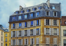 View of unique traditional French windows and balconies Royalty Free Stock Photography