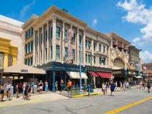 View of Universal Studios Florida theme park. ORLANDO,USA - AUGUST 23, 2014 : Visitors at Universal Studios Florida theme park royalty free stock photography