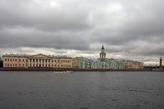 View of the University embankment and the Neva rive. R in St. Petersburg. The historic city centre. The Academy of Sciences, the Kunstkammer and Zoological Stock Image
