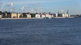 A view of the University embankment, sunny august morning. Saint Petersburg, Russia stock video
