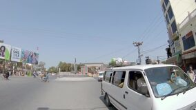 View of University square in Bahawalpur, Pakistan. In slow motion stock video footage