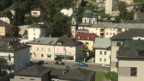 View from the university to the mountain fortress, Salzburg Nonnberg Abbey, Austria. View from the university to the mountain fortress, Salzburg Nonnberg Abbey stock footage