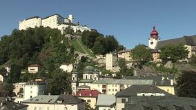 View from the university to the mountain fortress, Salzburg Nonnberg Abbey, Austria. View from the university to the mountain fortress, Salzburg Nonnberg Abbey stock video footage