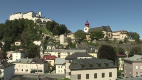 View from the university to the mountain fortress, Salzburg Nonnberg Abbey, Austria. View from the university to the mountain fortress, Salzburg Nonnberg Abbey stock video
