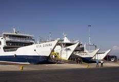 View of unloaded ferry boats stock image