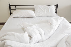 View of an unmade bed Stock Images